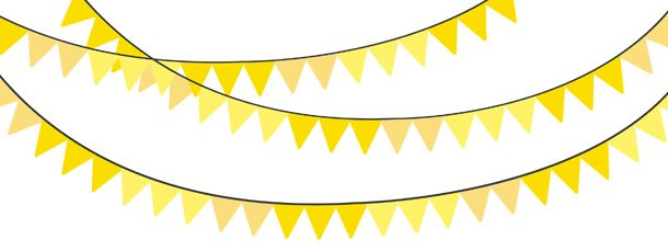 610x229 Solid Color Yellow Bunting Banner Clipart Pack
