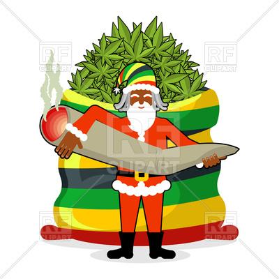 400x400 Rasta Santa Claus With Big Bag Of Hemp, Marijuana Royalty Free