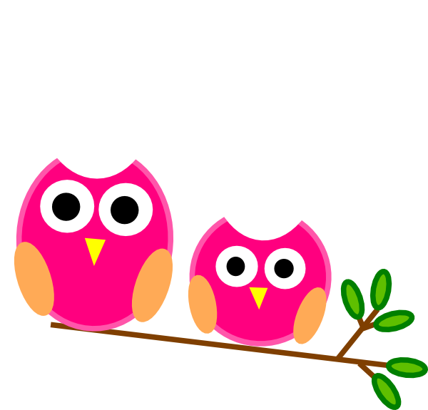 600x575 Big And Little Pink Owls On Branch Clip Art