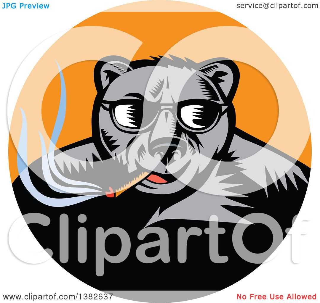 1080x1024 Clipart Of Retro Woodcut Black Bear Wearing Shadesnd Smoking