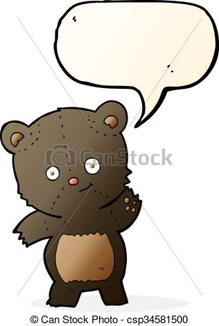 316x470 Cute Black Bear Cartoon With Speech Bubble Vector Clipart