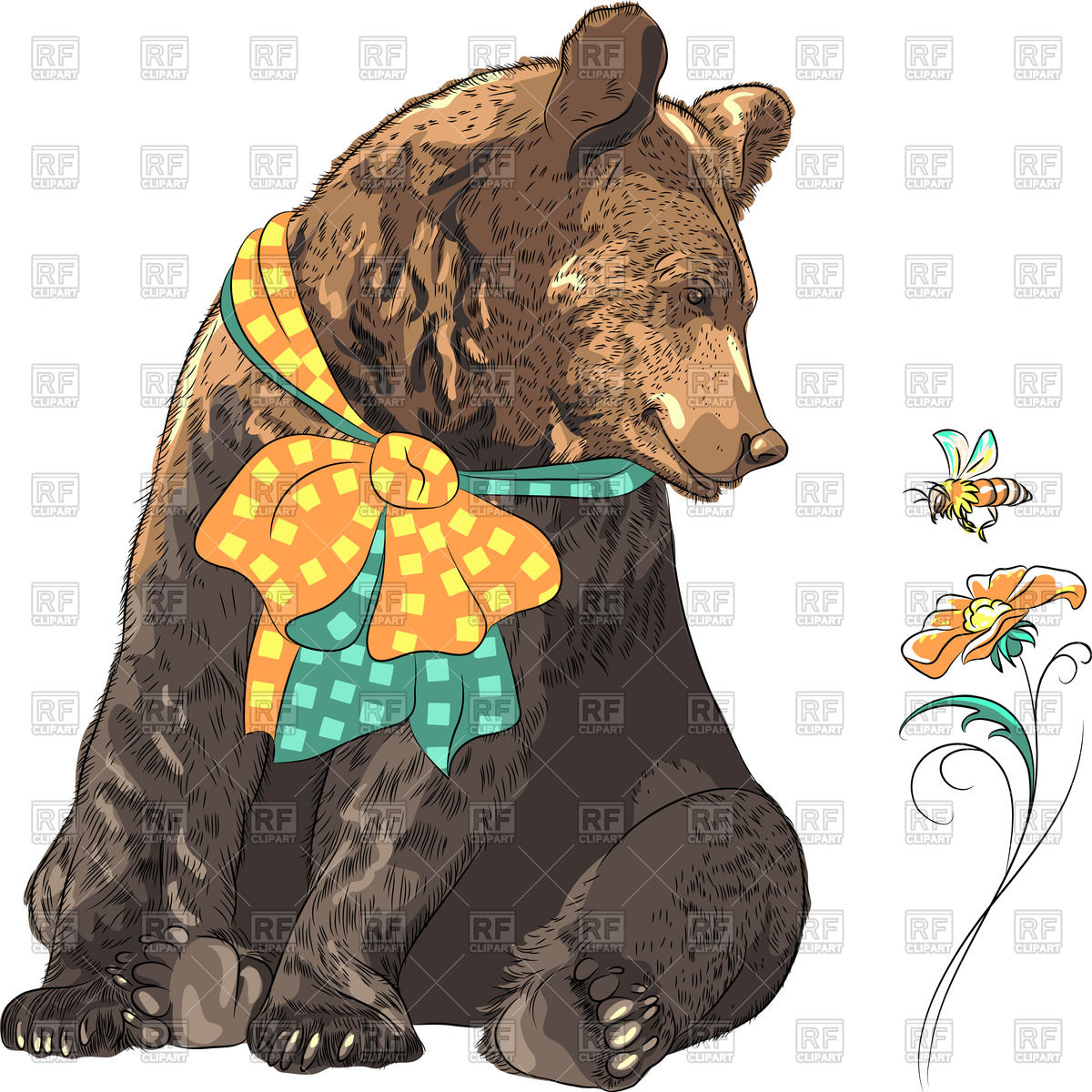 1200x1200 Cartoon Bear With Bow Looking