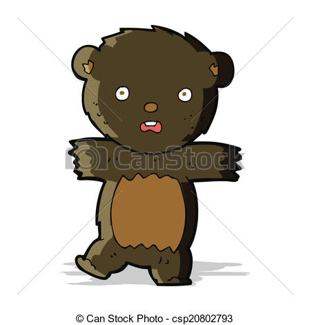449x470 Cartoon Shocked Black Bear Cub Eps Vectors