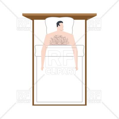400x400 Man In Bed Is Asleep. Sleeping Guy Under Blanket Royalty Free