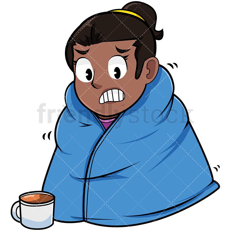 800x800 Black Woman With Warm Blanket On Cartoon Vector Clipart
