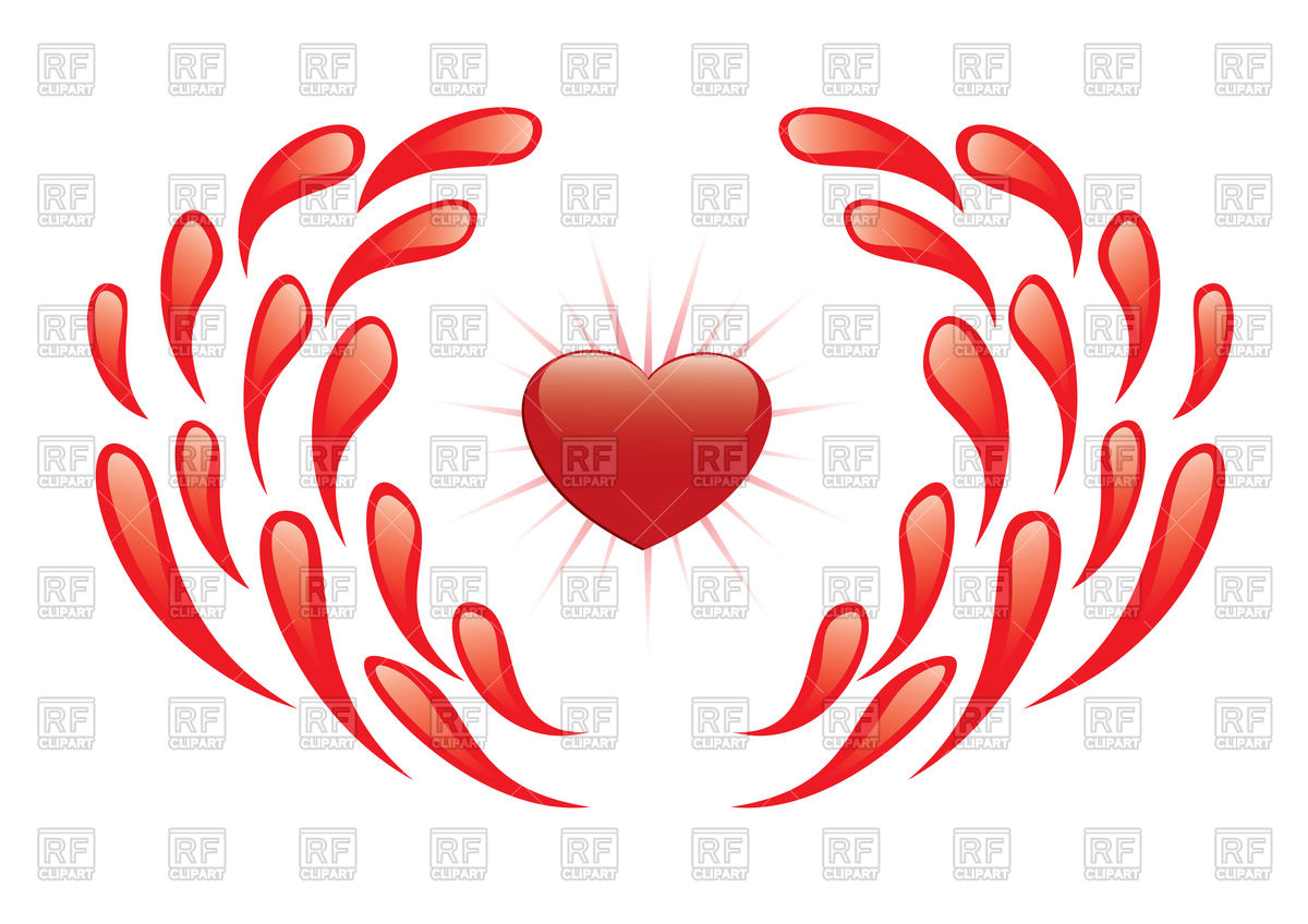 1200x848 Heart And Drops Of Blood Royalty Free Vector Clip Art Image