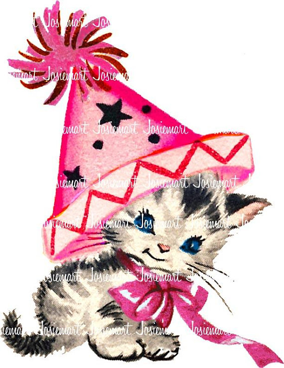 570x738 Pink Kitty With Party Hat Clip Art