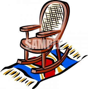 346x350 Picture Of A Wooden Rocking Chair Sitting On A Blanket In A Vector