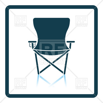 400x400 Shadow Reflection Design Icon Of Fishing Chair Royalty Free Vector