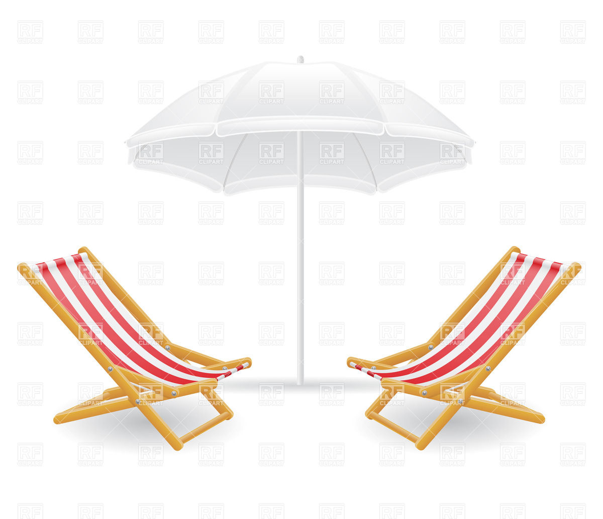 1200x1032 Striped Beach Chair (Chaise Longue) And Sunshade Royalty Free