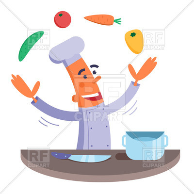 400x400 Funny Happy Chef Juggles With Vegetables Royalty Free Vector Clip