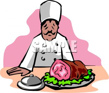 350x300 Picture Of A Chef Admiring A Ham He Cooked In A Vector Clip Art