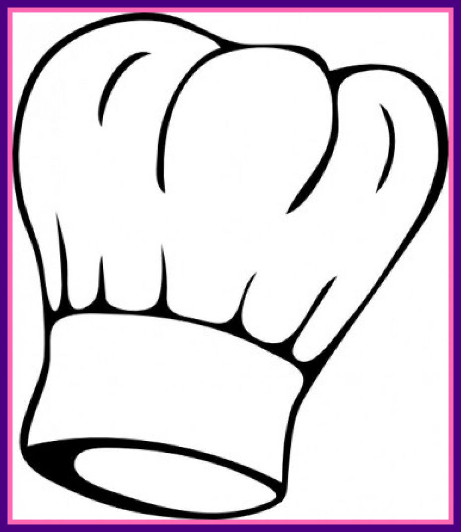 931x1074 Astonishing Chef Hat Clipart Black And White Of Food Clip Art