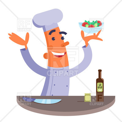 400x400 Cartoon Chef Holding Plate With Salad Royalty Free Vector Clip Art
