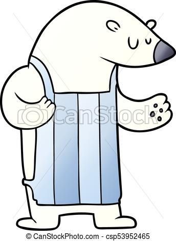 344x470 Cartoon Polar Bear Chef Clip Art Vector