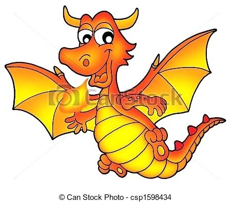 450x395 Dragon Clip Art Free Cute Red Dragon Color Illustration Dragon