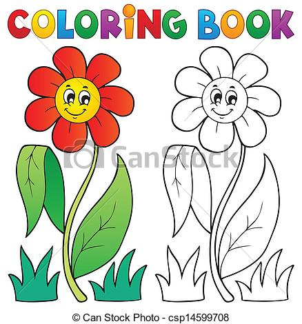 438x470 Coloring Book With Flower Theme 3 Vector Clipart Csp14599708