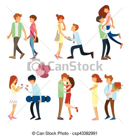 450x470 Couples And People Romantic Style Set Eps Vectors