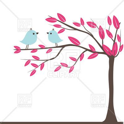 400x400 Couples Birds On Autumn Tree Vector Image Vector Artwork