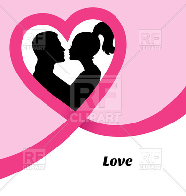 380x400 Kissing Couple's Silhouette Royalty Free Vector Clip Art Image