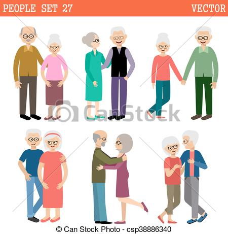 450x461 Loving Couples Of Elderly People. Pensioners. Vector Eps Vector