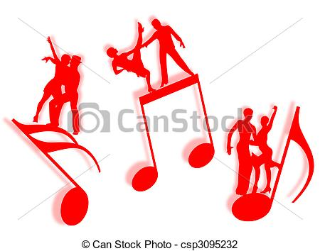 450x354 Music And Dance. Couples Dancing On Notes In Silhouette As Clip
