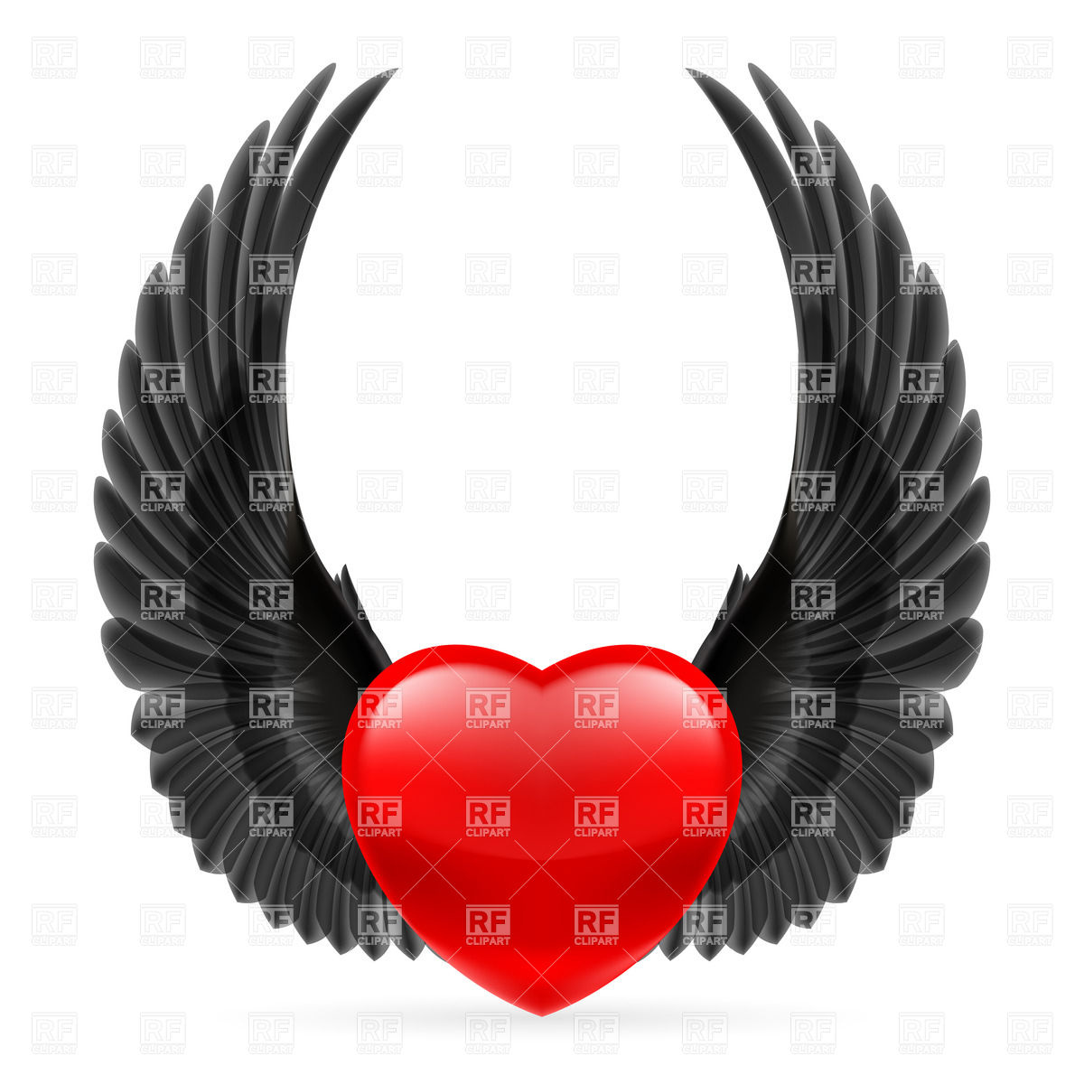 1200x1200 Red Heart With Black Crow Wings Up Royalty Free Vector Clip Art