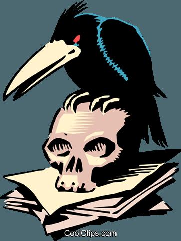 362x480 Cartoon Crow And Skull Royalty Free Vector Clip Art Illustration