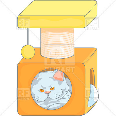 400x400 Cute Cat In The Cat's House With Scratching Posts Royalty Free