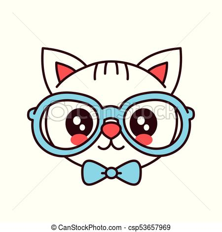 450x470 Cute Smiling Funny Hipster Cat In Glasses And Butterfly Tie