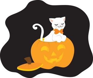 300x251 Halloween Cat Clipart Image Clip Art Illustration Of A White Cat