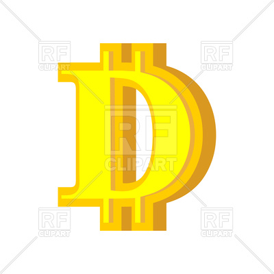 400x400 D Letter Bitcoin Font Royalty Free Vector Clip Art Image