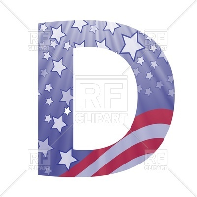 400x400 Letter D In American Flag Style Royalty Free Vector Clip Art Image
