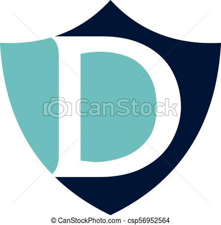 450x457 Modern Shield Letter D Clip Art Vector