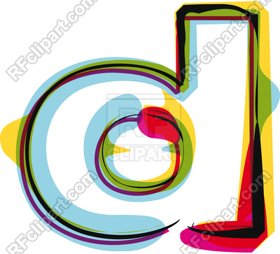 400x363 Abstract Colorful Brushed Letter D Royalty Free Vector Clip Art