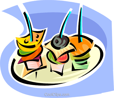 480x413 Hors D'Oeuvres Royalty Free Vector Clip Art Illustration Vc062868