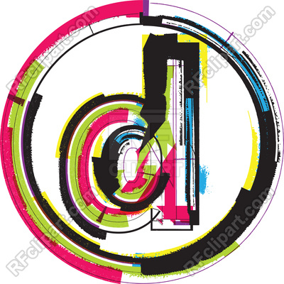 400x400 Colorful Grunge Font Lowercase Letter D In Circle Frame Royalty