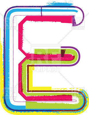 310x400 Capital Colorful Letter E Royalty Free Vector Clip Art Image