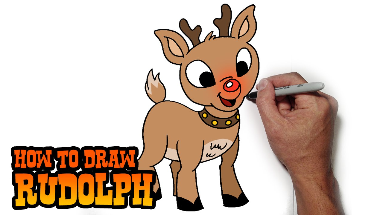 1280x720 How To Draw Rudolph The Red Nosed Reindeer Easy Art Lesson
