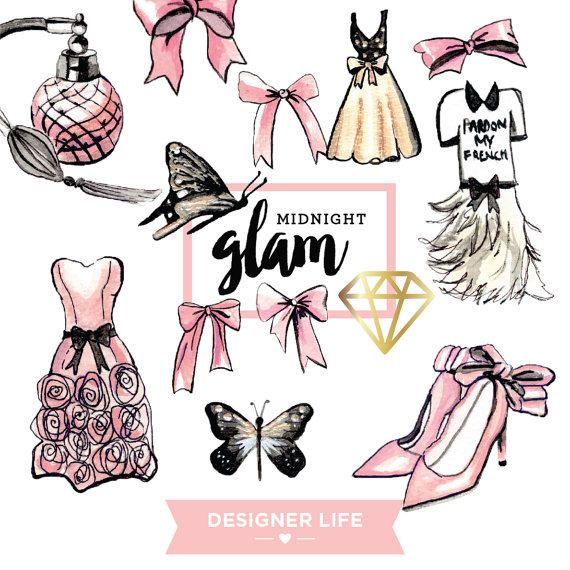 570x570 Midnight Glamour Digital Clipart Planner Stickers.