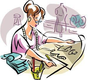 300x271 A Fashion Designer Drawing Up A New Outfit Clipart Picture