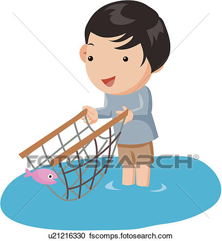 433x470 Fisherman With Net Clipart