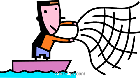 480x268 Fisherman Throwing Net Royalty Free Vector Clip Art Illustration
