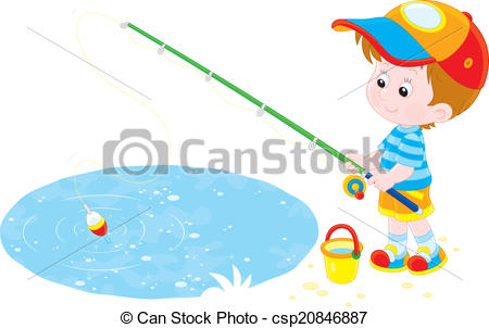 450x302 Fisherman. Little Boy Fishing On A Small Pond Vector