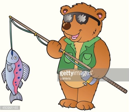 445x385 Cartoon Bear Fisherman Premium Clipart