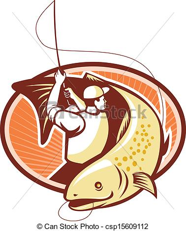 378x470 Fly Fisherman Reeling Trout Fish Retro. Illustration
