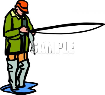 350x315 Royalty Free Clipart Image Fly Fisherman