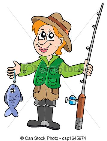 357x470 Fisherman Clip Art Fisherman With Rod Isolated Illustration