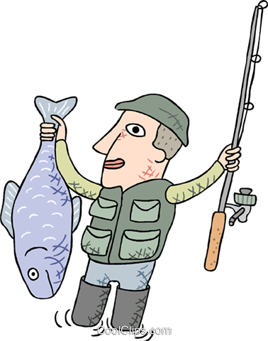378x480 Fisherman With Large Fish Royalty Free Vector Clip Art