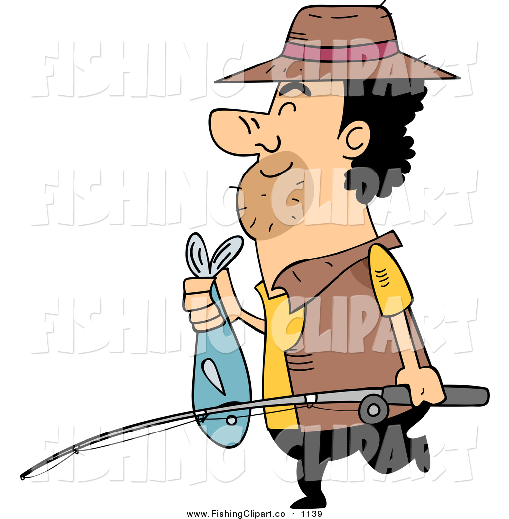 1024x1044 Clip Art Of A Cartoon Fisherman Carring A Pole And Fish By Bnp